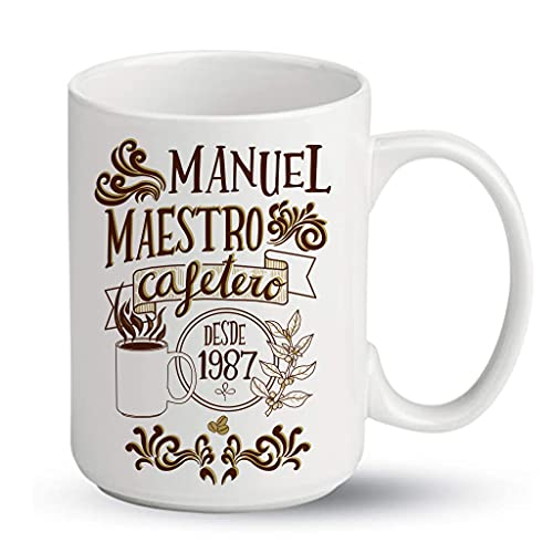 Bee Ingenious Taza Personalizada de Ceramica XL - 450ml. Taza de Desayuno Original: Maestro cafetero con Nombre y año Personalizados