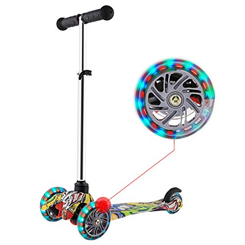 WeSkate Mini Scooter for Kids Lights Up Scooter for Girls Boys Toddlers Scooter with 4 Level Adjustable Height Design for Children Ages 28