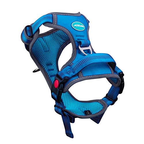 ThinkPet No Pull Harness Breathable Sport Harness with Handle-Dog Harnesses Reflective Adjustable for Medium Large Dogs,Back/Front Clip for Easy Control S Light Blue
