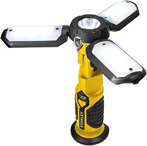 STANLEY SAT3S Rechargeable 600 Lumen Lithium Ion LED Satellite Work Light with USB Power Charger