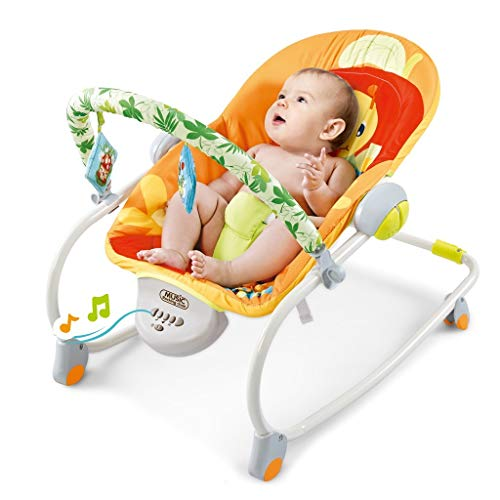 Electric Portable Baby Swing Cradle, Bed Bedside Bassinet Rocker Seat Rocking Chair with Hanging Toys Smooth Vibration Swing Seat for Newborn Infants Rocker Swing Chair with Music