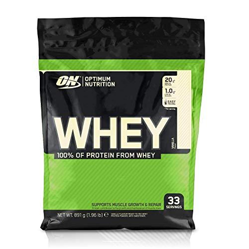 Optimum Nutrition Whey, Shake di Proteine in Polvere a Basso Contenuto di Zuccheri con Aminoacidi per la Crescita Muscolare, Vaniglia, 891 g, 33 Porzioni