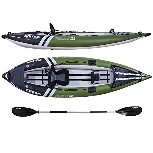 Elkton Outdoors Steelhead Fishing Kayak - Inflatable Touring, Single-Person Angler Includes Paddle, Hard Mounting Points, Bungee Storage