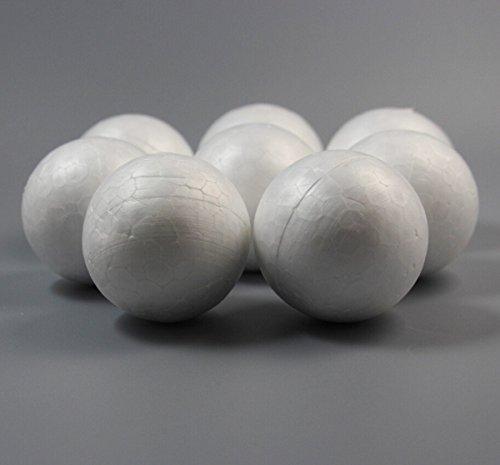 Chengyida 30-pack Balles de travaux manuels en mousse pour le modelage, lisse Balles en mousse, à l'école de Noël Arts & Crafts lisse en mousse de polystyrène Balles 50 mm/5,1 cm, Blanc