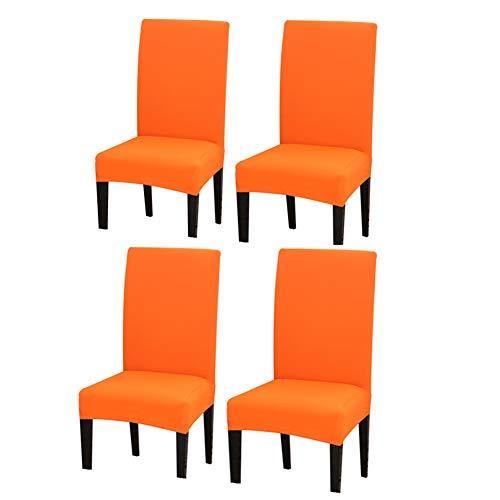 DC CLOUD Fundas sillas de Comedor Cubre sillas Comedor Comedor sillas Cubre Cubierta de la Silla Elástico Cubiertas de la Silla Comedor Cubierta de la Silla Set of 4,Orange