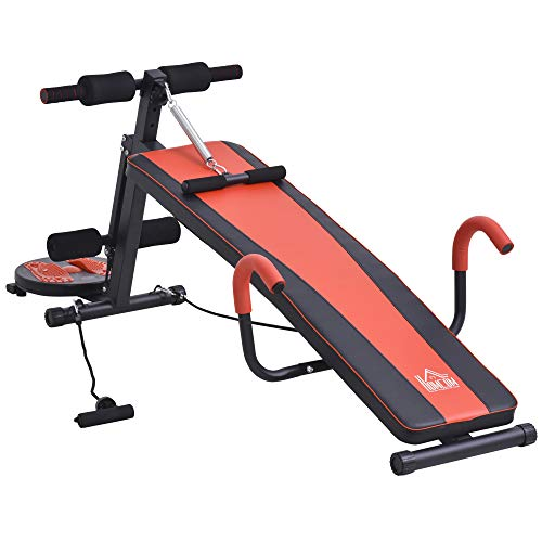 HOMCOM Sit Up Bank Bauchtrainer Trainingsbank Fitnessbank Verstellbar Gepolstert mit Widerstand 120 kg Belastbarkeit Rot+Schwarz 53x166x52–60 cm