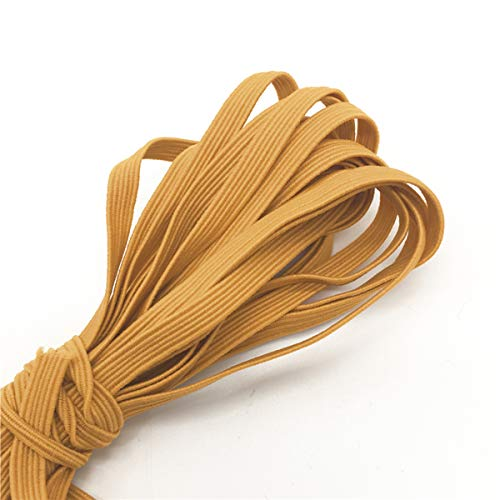 1/8' (3mm) Flat Elastic Stretchy Band: Sewing Crafts DIY Masks US Stock Ready to Ship (Gold, 20 Yards)