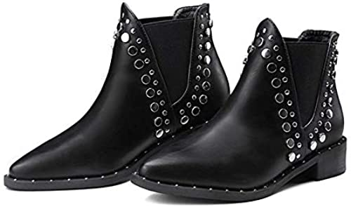 ZHRUI Damen Spitz Flach Chelsea Ankle Stiefel Warme Stiefel