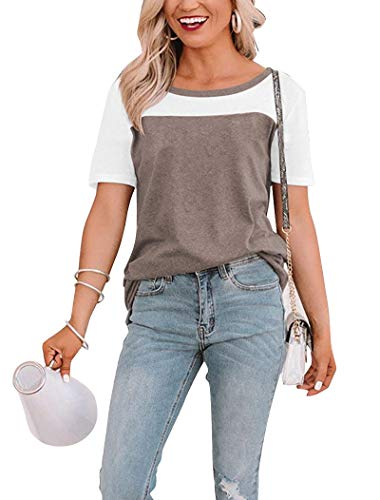 Minthunter Women's Short Sleeve T-Shirts Basic Round Neck Casual Summer Tees Color Block Tops Brown