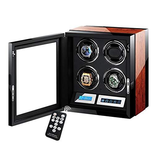 YZSHOUSE Cajas Giratorias para Relojes 4 Relojes,Automático Estuche Bobinadora Motor Silencioso LCD Digital Toque Monitor&Remoto Controlar,5 Rotación Modo,Piano Lacquer