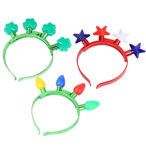 POPETPOP 3Pcs Light up Headband Star Flower Bulb Resplandor en La Oscuridad Led Hair Hoop Hair Band Halloween Cosplay Headpiece Headwear Disfraz para Mujeres Niñas