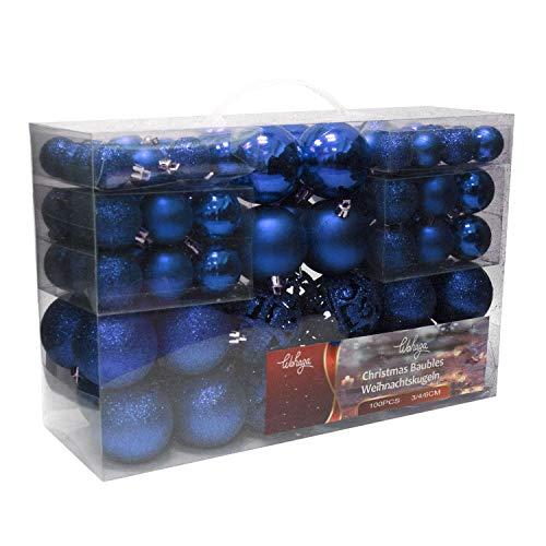 Set de 100 Bolas de Navidad Ø3/4/6cm plástico Azul Adornos del árbol de Navidad decoración navideña decoración para el Abeto