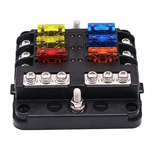 Fusibles Coche, Indicador LED de 1 en 6 de cada Independiente positivos y negativos de la caja de fusibles