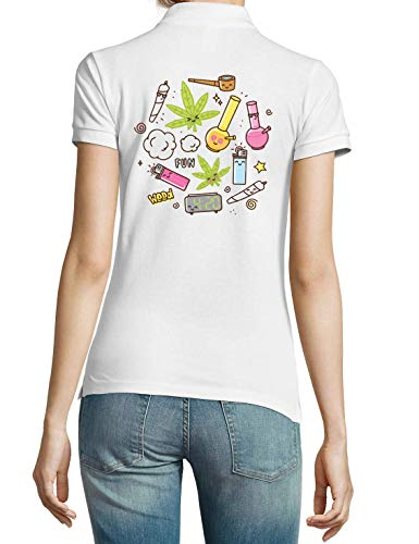 420 Weed Lighter Joint Pipe Fun White Women's Polo T-Shirt Small
