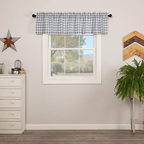 VHC Brands Sawyer Mill Blue Light Filtering Plaid Pattern Farmhouse Kitchen Valance 16x72 Curtain