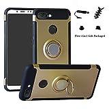 LFDZ Xiaomi Mi 8 Lite Hülle, 360 Rotation Verstellbarer Ring Grip Stand,Ultra Slim Fit TPU Schutzhülle für Xiaomi Mi 8 Lite (mit 4in1 Geschenk Verpackt),Gold