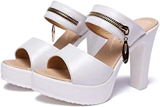 Summer women's platform sandals open toe high heel shoes(White,Lable 40/8.5 B(M) US Women)