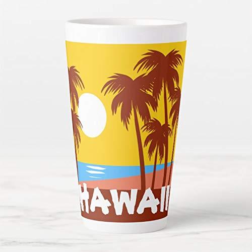 482 ml Kaffeebecher, Hawaii Travel Latte Tasse, Keramik Latte Travel Cup mit Deckel und Löffel, Teetasse