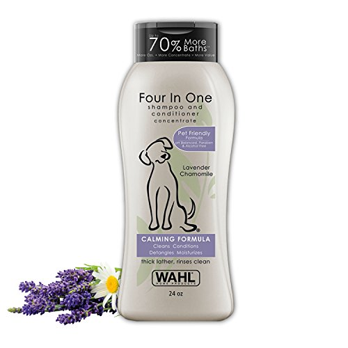 Wahl 4-In-1 Calming Pet Shampoo – Cleans, Conditions, Detangles & Moisturizes with Lavender Chamomile & 100% Natural Ingredients - 24 oz (820000A)