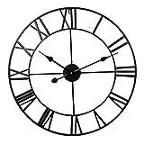 Vintage Reloj De Pared con NúMeros Romanos Silenciosos Reloj De Esqueleto De Metal No Se Hace Tictac Sala De Estar Café Hotel Oficina DecoracióN para El Hogar Regalo -40 Cm-C