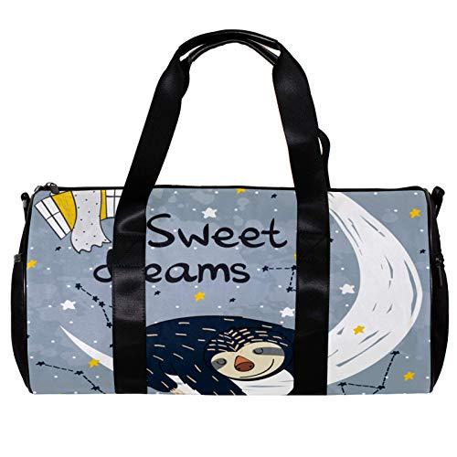 Runde Sporttasche mit abnehmbarem Schultergurt, niedlicher Schlafmond, süßer Traum, Trainings-Handtasche für Damen und Herren