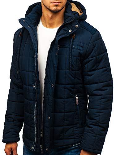 BOLF Hombre Chaqueta Guateada De Invierno con Capucha Cierre de Cremallera y Botones Cuello Elevado Ropa de Abrigo Estilo Diario 1672 Azul Oscuro M [4D4]