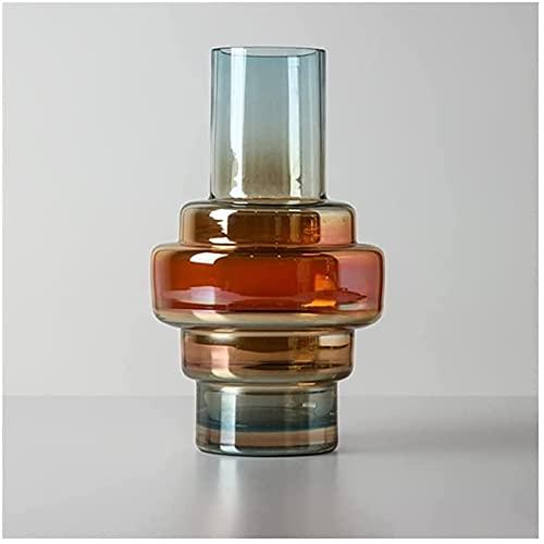 ZXYDD Florero nórdico de vidrieras creativas transparentes ornamentos hidropónicos decoración para el hogar, oficina, bodas, fiestas, regalos de plantas, jarrón (color: A) (color: A)