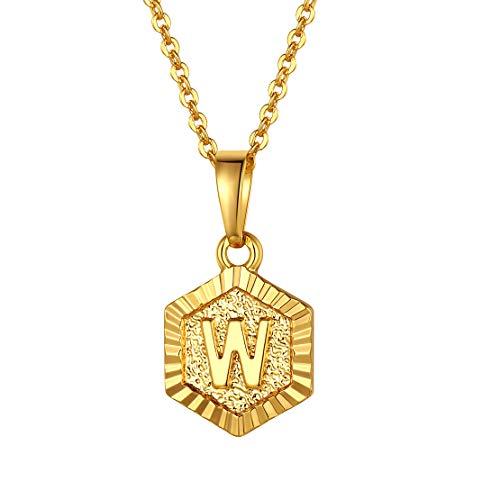 FindChic イニシャルネックレスW レディース ペンダントトップ 18金 18k ゴールド 真鍮 小さめ 六角形 おしゃれ 大人可愛い 女性 プレゼント