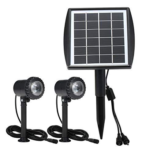 ZIEM 6V 1.8W LED Luci da Giardino Impermeabili Faretti da Esterno per Esterni mentati a energia Solare Passerella a Doppia Testa Passerella Prato Illuminazione da Cortile Lampada da Paesaggio di