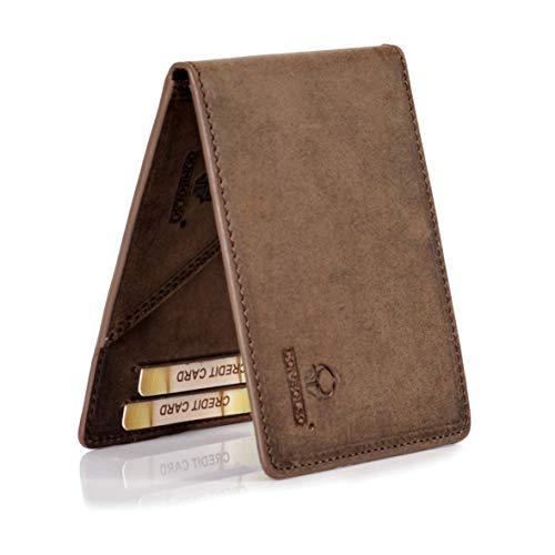 DONBOLSO® Madrid Geldbörse mit Münzfach Leder Herren Mini Portemonnaie Flach mit RFID Brieftasche Männer Braun
