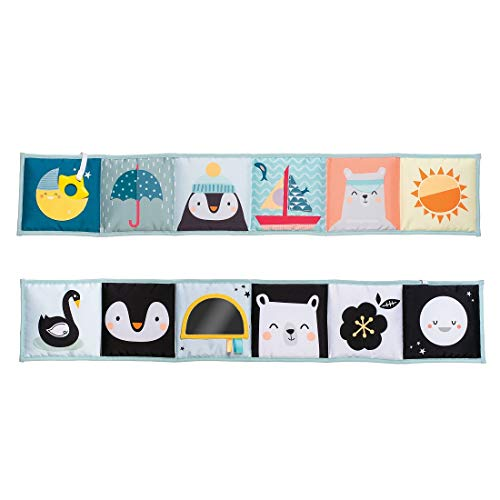 Taf Toys North Pole Soft Activity Baby Book | Baby's First Book for Easier Development and Easier Parenting, Best Tummy-Time Play, Cot & Pram use, Textured Fabric & Crinkling Shapes, Contrast Colors