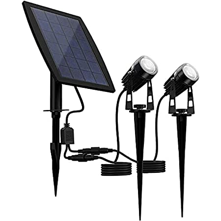 LED Solar Spotlight|Cool-White|9-10 Hours Working time| 3M Cable |2 Pack | Water-Proof IP65 Solar Ground Light for Outdoor Driveways、Garden| Automatically Activates at Dusk