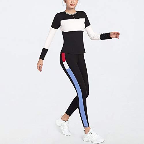 SUNXK 2020 Nuevo Traje de Yoga Las Mujeres Europeas y Americanas golpeó Color de los Cordones Gimnasia Pieza de Ropa Deportiva (Color : Red White+Royal Blue, Size : S)