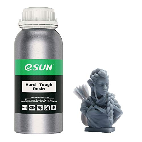 eSUN 405nm LCD 3D Printer Rapid Resin UV Curing Resin ABS-Like Rapid Resin Hard Tough Resin High Impact High Tough Photopolymer Resin for Photon UV Curing LCD 3D Printer, 500g Gray