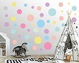 Wandtattoo Punkte fürs Kinderzimmer - 100 Wandsticker Set - Pastell Farben für Baby zum Kleben Wandaufkleber Sticker Wanddeko - Wandfolie Polka Kreise, Pastell - Pink - Lila - Gelb - Orange - Minze
