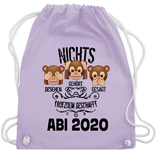 Shirtracer Abi & Abschluss - 3 Affen Emoticon ABI 2020 - Unisize - Pastell Lila - namen bedrucktes handtuch - WM110 - Turnbeutel und Stoffbeutel aus Baumwolle