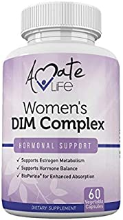 Women's DIM Complex 150mg - Bioperine Estrogen Balancing Pills for Menopause & Hot Flashes Relief Support Hormonal Acne Treatment Powerful Supplement - 60 Capsules - Made in USA by Amate Life