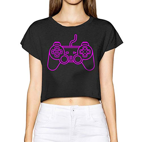 Playstation Controller Girl's Summer Short Sleeve T-Shirt Tops Blouse Black