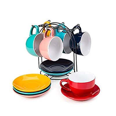 Cutiset 8 Ounce Ceramic Tea Espresso Cup and Saucer Set with metal stand, set of 6, Assorted colors