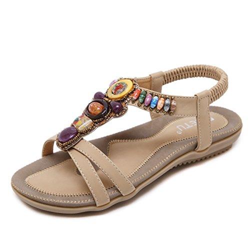 Sandali Piatti alla Moda da Donna con Perline e Gemme Infradito in Stile Etnico della Boemia Scarpe da Spiaggia Traspiranti per Donna Estate