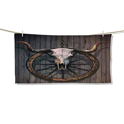 Microfiber Beach Towel Quick Drying, Fast Dry Towels, Sand Free Long Horned Bull Skull and Old West Wagon Wheel on Rustic Wall W32 x L16 Ideal Gift for Women Men,Best Friend