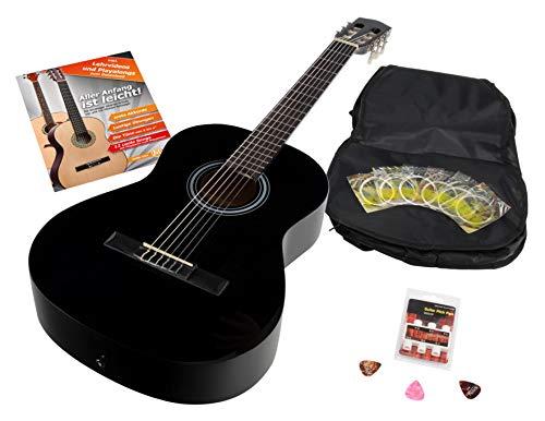 Calida Benita 7/8 Konzertgitarre Set inkl. Zubehör - Gitarre inkl. Gitarrentasche mit Schultergurt & Notenfach - Gitarrenschule mit CD & DVD, Stimmpfeife, Plektren, Ersatzsaiten - Schwarz