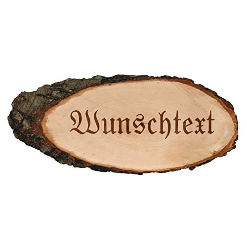 Gravierte ovale Rindenbretter Holzbrett Baumscheibe Türschild, Brettgröße:ca. 30 cm lang, Motiv:Wunschtext
