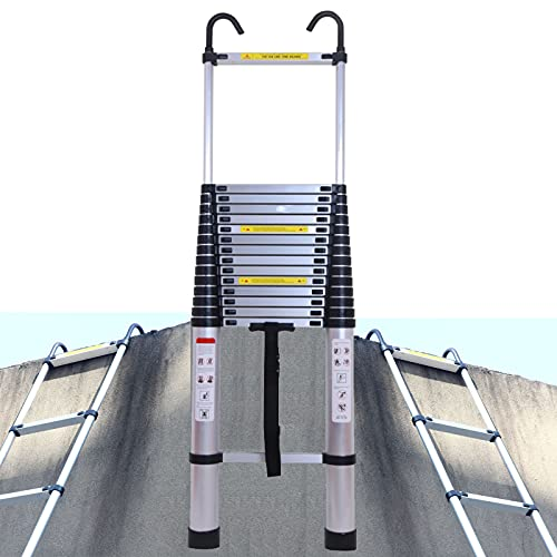 20FT Telescoping Ladder Aluminum Extension Ladder EN131 with 2 Detachable Hooks, 330lb Max Load Heavy Duty Portable Straight Ladder for Home DIY Loft Office, 3.58FT Folded Size Easy to Store