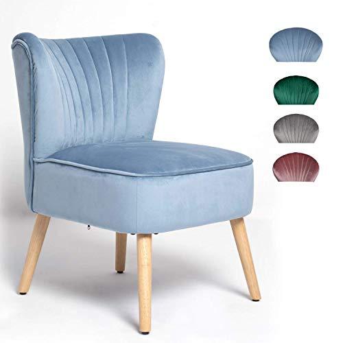 OMNIPRO Fauteuil en Velours,Pieds en Bois,57 x 68 x76cm,pour Petit Appartement, Salon, Chambre,Bleu