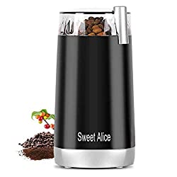 Image of Sweet Alive Electric Coffee Grinder, 120V Powerful Stainless Steel Blade With large Grinding Capacity And HD Motor, Suitable for Herbs, Nuts, cereals, etc. [2 years warranty]: Bestviewsreviews
