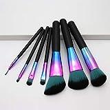 Juego de 7 brochas de maquillaje coloridas, con mango de madera, color degradado, color azul, para sombra de ojos, brocha de maquillaje (color del mango: juego de pinceles)