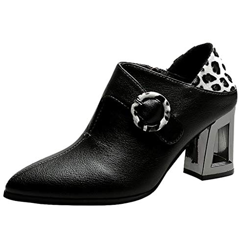 For Sale! Aurorax Womens Square Heel Pointed Toe Leather Shoes Party Boots Fall Winter Casual Soft T...