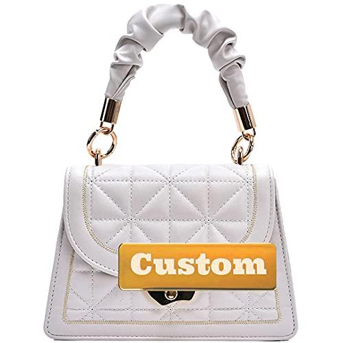 Nombre Personalizado Bolsa de Cruz de Cuero para Mujer para Mujeres Crossbody para Mujer (Color : Off White, Size : One Size)