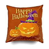 Musesh Holiday Throw Pillow Case, Happy Halloween Greeting Card, Poster, Banner Design with Orange Pumpkin in Pointed Witch for Sofa Home Decorative Pillowcase 18X18 Inch Pillow Covers
